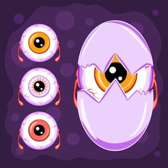 Персонажи мультфильмов хэллоуина, коллекция монстров глазного яблока, векторные иллюстрации.