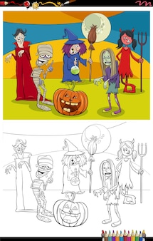 Cartoon halloween characters group coloring book page