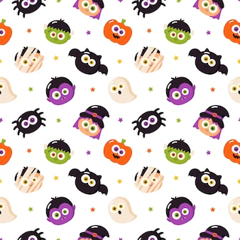 Cartoon halloween characters seamless pattern on white background
