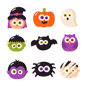Cartoon halloween characters set isolated on white background