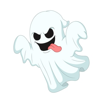 白い背景の上の漫画のハロウィーンの幽霊