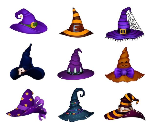 Cartoon halloween hats of witch or enchantress