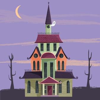 Cartoon halloween house theme