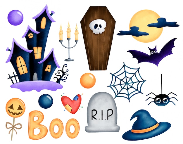 Cartoon halloween illustration set isolated. haunted house, coffin, grave, witch hat, spider, cobweb, full moon, bat, candles, water heart, pumpkin candy, boo.