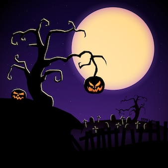 Cartoon halloween illustration with scary tree evil pumpkins and cemetery