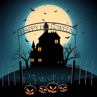 Cartoon halloween night template with haunted castle trees flying bats scary pumpkins