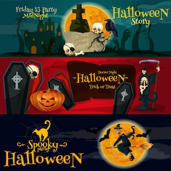 Cartoon halloween party banners. friday 13 gravestone, horror night coffins and skeletons