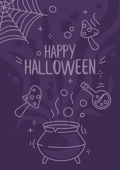 Cartoon halloween poster designs pot with fly mushrooms and agaric in doodle style