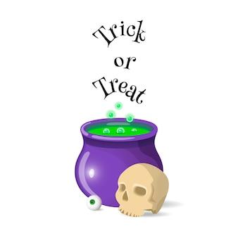 Cartoon halloween pot. trick or treat card.