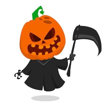 Cartoon halloween pumpkin head jack-o-lantern