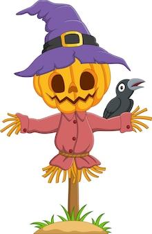 Cartoon halloween pumpkin scarecrow with crow