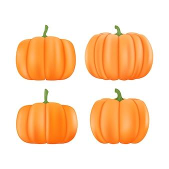 Мультфильм хэллоуин тыква набор. тыква различных форм и размеров оранжевая изолированная на белой предпосылке. иллюстрация