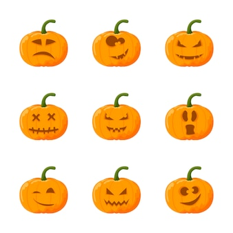 Cartoon halloween pumpkin set. emotion set.