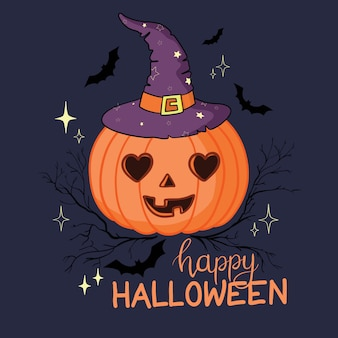 Cartoon halloween pumpkin wearing witch hat isolated