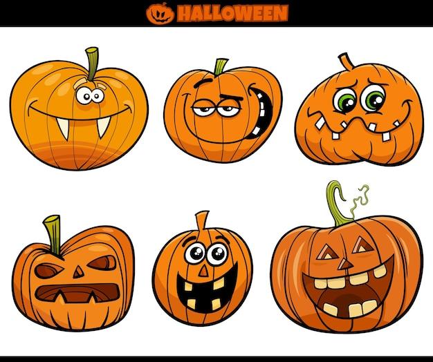 Cartoon halloween pumpkins or jackolanterns comic characters