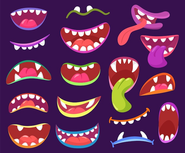 Cartoon halloween scary monster mouths with teeth and tongue fangs vector set