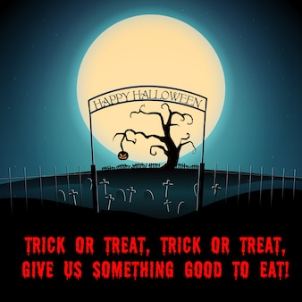Cartoon halloween scary night poster with text dry tree and evil pumpkin on graveyard