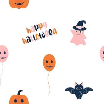 Cartoon halloween seamless pattern halloween wall paper or fabric pattern for babie