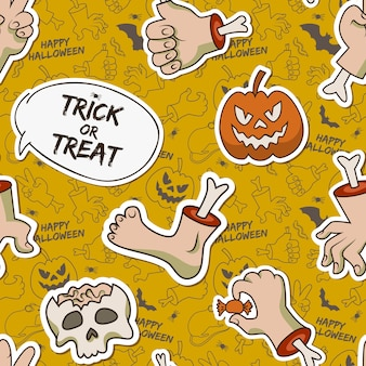 Cartoon halloween seamless pattern with paper skull zombie arms leg creepy pumpkin caterpillar candy