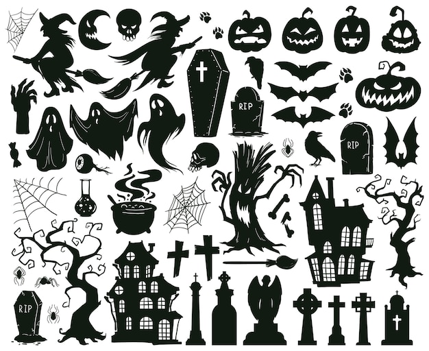 Cartoon halloween spooky evil silhouettes witches monsters and creepy ghost vector illustration set