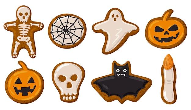 Cartoon halloween spooky gingerbread cookies pumpkin skull and ghost vector illustration