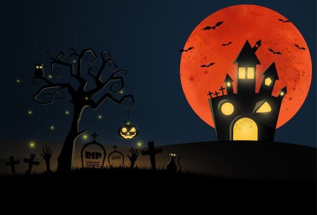 Cartoon  halloween  with graveyard and house