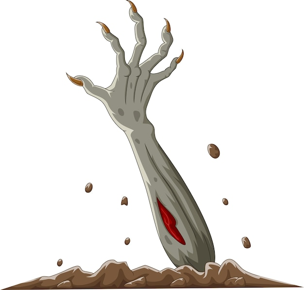 Cartoon halloween zombie hand out of the ground