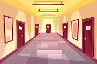 Cartoon hallway, corridor with many doors - college, university or office building.