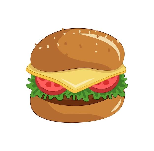 배너 포스터 카드 인쇄 메뉴를 위한 치즈 토마토와 샐러드 디자인이 있는 만화 햄버거