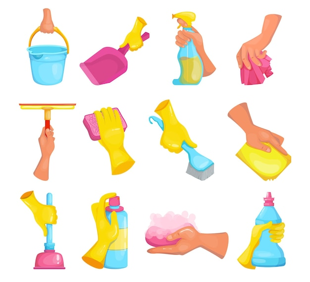 Cartoon hand of cleaner set