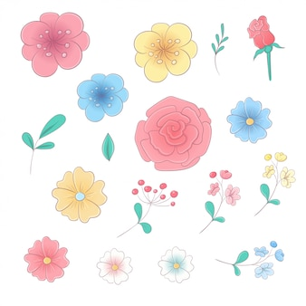 Cartoon hand drawing set of flowers and leaves