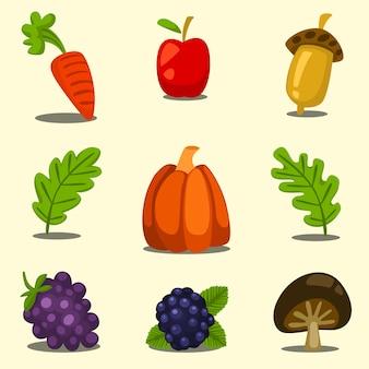 Cartoon hand drawn autumn thanksgiving fruit template set