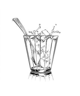 漫画の手には、砂糖キューブと黒い色のスプーンでお茶のカップが描かれました。白い背景に分離されました。ポスター、装飾、印刷用の図面。ベクタースケッチ図