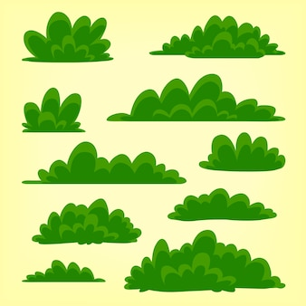 Cartoon hand drawn doodle bush collection template set