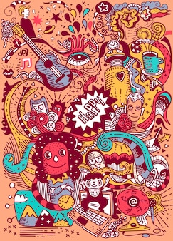 만화 손으로 그린 낙서 휴일 포스터 템플릿입니다. 많은 개체 일러스트와 함께 매우 상세합니다. 재미있는 삽화. 기업 아이덴티티 디자인.