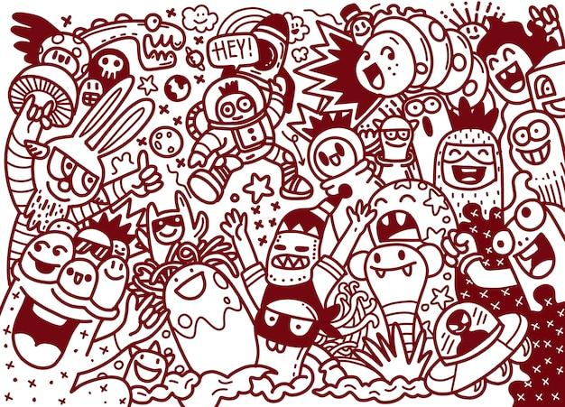 Мультфильм рисованной каракулей праздник плакат шаблон. очень подробный, с множеством иллюстраций объектов. смешные произведения искусства. разработка фирменного стиля.