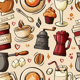 Cartoon hand-drawn doodles on the subject of cafe, coffee shop theme seamless pattern.