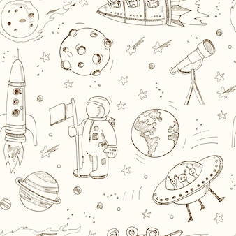 Cartoon hand drawn doodles on the subject of space seamless pattern.