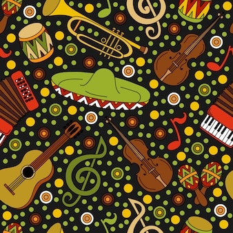Cartoon hand-drawn latin american, mexican seamless pattern with musical instruments
