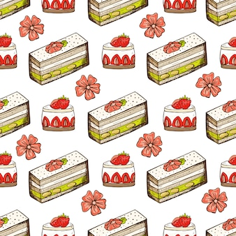 Cartoon hand drawn seamless pattern with cakes