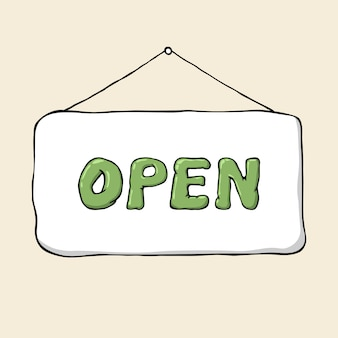 Cartoon hand drawn signboard open.