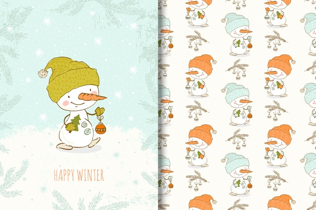 Cartoon hand drawn snowman with christmas elements card and seamless pattern