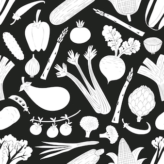 Cartoon hand drawn vegetables seamless pattern