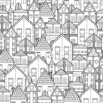 Cartoon hand-drawn vintage town seamless pattern.