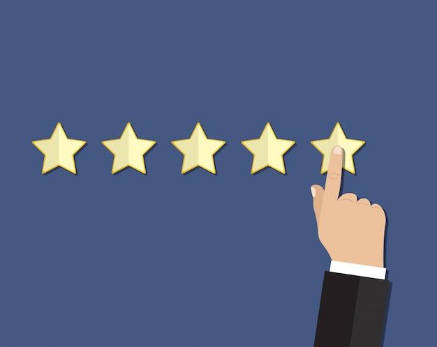 Cartoon hand gives a star rating.