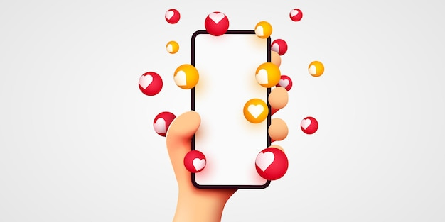 Cartoon hand holding mobile smartphone with likes notifications on white background social media