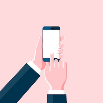 Cartoon hand holding smartphone and touch on blank black screen on pink background