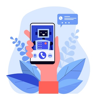 Cartoon hand holding smartphone with robot
