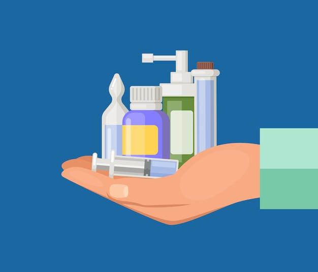 Cartoon hand keeping pile of medicines. medical drug and medicament pills