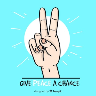 Cartoon hand peace sign background